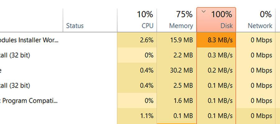 Ispol'zovaniye (zagruzka) diska v Windows 10 na 100%